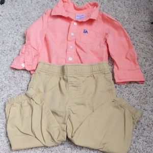 Button Down Onesie and Pull-on Pant Set